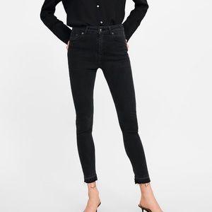 Zara Black High-Waisted Raw Hem Skinny Jeans